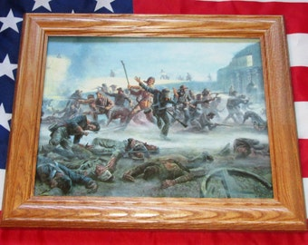 Framed Texas Revolution Painting, Mort Kunstler, THE ALAMO, Davy Crockett