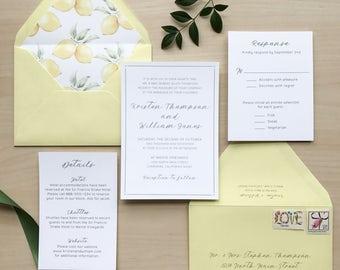 Lemon Summer Citrus Wedding Invitation Suite / Sample or Deposit / #1114