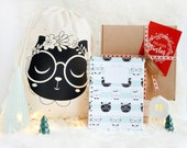 """Christmas Gift Set: Cotton Backpack """"Black cat"""" screen printed  + Miau notebook + gift box"""