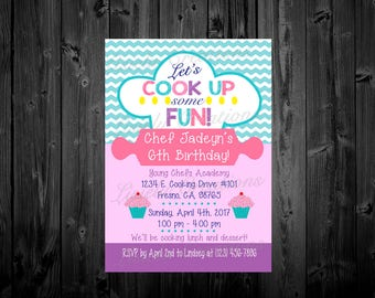 Cooking Invitation, Cooking Party, Cooking Party Invitations, Baking Invitation, Baking Party Invitations, Baking Party, Chef Party