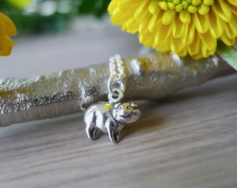 Sterling Silver, Pig Necklace, Pig Jewelry, Piglet Necklace, Year of the Pig, Piggy Bank, Farm Animal, Modern Pig, Petting Zoo, Piggy