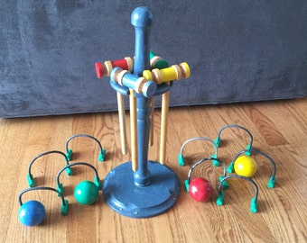 Vintage Small Hand Made Colorful Croquet Set