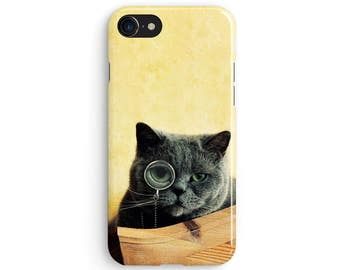Monocle Cat - iPhone 7 case, Samsung galaxy S8 case iPhone 6 iphone 7 plus samsung galaxy S7 iphone SE 1P049