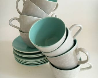 Poole Pottery England Twintone Ice Green and Seagull  Demitasse Espresso Set of Eight (8) Cup and Saucer Duos c1970