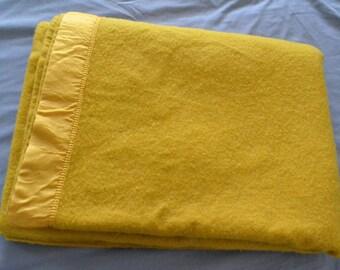 Mustard Yellow Vintage Wool Blanket Throw