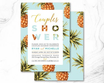Tropical Couple Wedding Shower Invitation, Printable Digital Invite _ CPS17_08 Mint Blue, Turquoise, Gold, & Pineapple