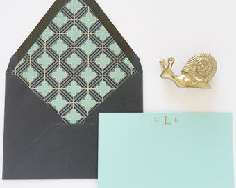 Personalized Stationery Art Deco Lined Envelopes and Flat Cards with Gold Embossing Gift for Her Wedding Thank You Cards Monogrammed