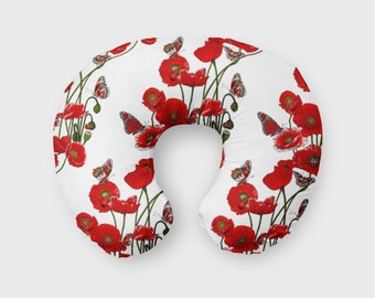 Nursing Pillow Cover Red Poppies and Butterflies. Nursing Pillow Cover. Floral Boppy Cover. Poppy Cover. Baby Bedding. Nursing Pillow Cover.