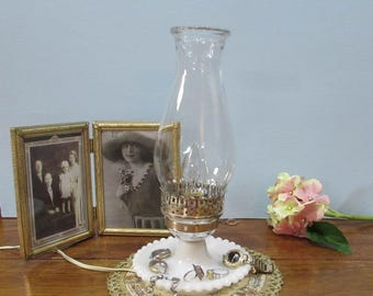 Milk Glass Hobnail Lamp ~ Electric Hurricane Lamp ~ Cottage Chic Décor ~ White Lamp ~ Milk Glass Lamp ~ Hobnail Milk Glass