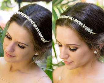 Gold Bridal Headband gold crystal Headpiece, Wedding Headpiece custom made to order Bridal Hair Accessories, Wedding Hair H5W