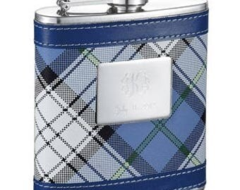 Personalized Flask for Women, 6oz. Blue Plaid Stainless steel Flask, Bridesmaid Flask, Mother's Day, Birthday Gift, Anniversary Gift VF5048