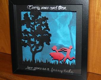 Beautiful, handmade papercut Love frame