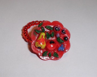 Vintage Button Ring, Red Fruit Bowl, Size 6.5 to 7, Hand Painted