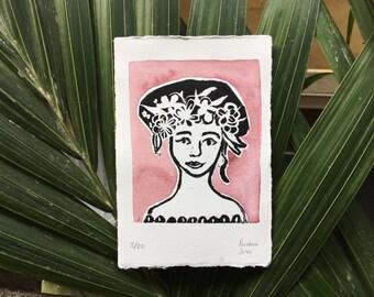 Lady With Flower Crown   Original Linocut Relief Print
