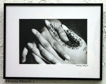 Black and White Silver Gelatin Photographs- Henna Hands 1 or Henna Hands 2, photograph of hands, portrait photography