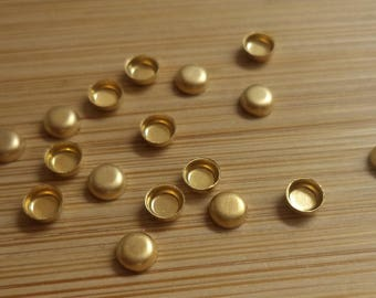 3mm round high wall brass bezel cup settings 18 pcs lot l