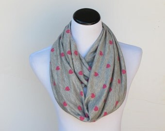 Pink hearts infinity scarf gray and pink scarf super soft infinity scarf loop scarf Mothers day gift Valentines day gift for women teen girl