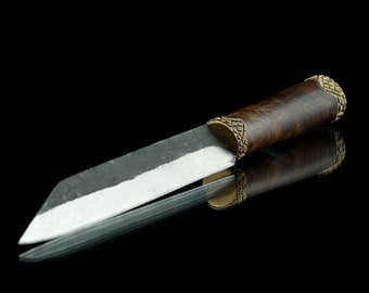 Hand Forged Viking Knife With Leather Sheath Middle Ages