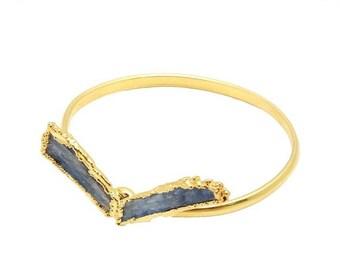 30% off Clearance Blue Kyanite Bracelet - Gold plated Adjustable Bangle (RK114B2-09)