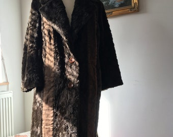 Vintage Dark Brown Fake Fur and Real Suede Coat- circa 1960s- Generous Fit approx Size 14-16-VGC