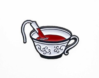 Tampon in a Teacup Feminist Enamel Pin