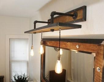 Rustic Industrial Light - Steel and Barn Wood Vanity Light w/Bulbs  #L1203