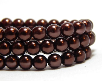 6mm Brown Glass Pearls, 6mm Brown Beads, Chocolate Brown Beads, Brown Pearls, Dark Brown Glass Pearls, Brown Glass Pearls, T-94E