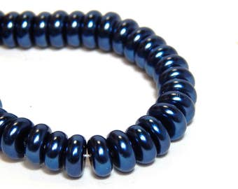20 8x4mm Blue Glass Pearls, Blue Pearl Rondelles, Blue Beads, Blue Pearls, Navy Blue Pearls, Dark Blue Beads, Navy Blue Rondelles, D-K18