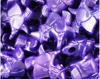 24 Dark Purple Pearl 24mm Witch Halloween Themed Pony Beads