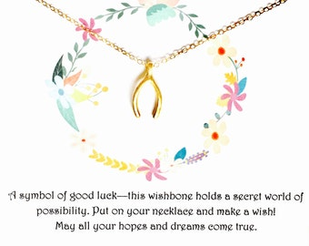 Wishbone 16K Gold Necklace Good Luck Charm/ Inspirational /Dainty Necklace /Simple and Elegant /16K Gold Fill/ Quote/ Gift/ Wish
