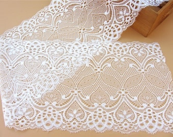 Stretch Lace Trim,white wedding Lace trimming- Extra Wide Lace Trim, 18cm Wide Lace Trim- off white/black