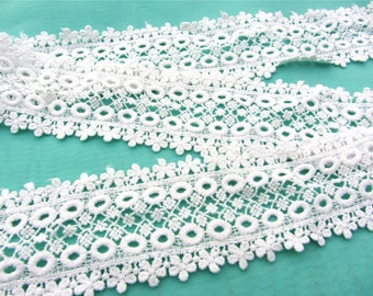 Lace trim sell by yard, white cotton lace ,Cotton lace Trim solubility lace Lace Trim Floral Lace