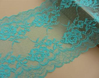 1yards aqua green lace,bras lace,wedding lace trim,Stretch Lace Trim - Extra Wide gift Lace Trim, 21cm Wide Lace Trim,lingerie lace,