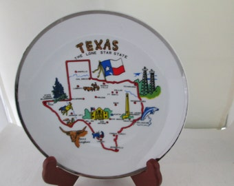 Small Texas Souvenir Plate with Silver Border the Alamo State Plate Texas Longhorn Lone Star State Texas plate Texas ceramic State souvenir