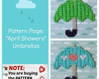 "Plastic Canvas Pattern Page: ""April Showers Umbrellas"" (2 designs, graphs and photos, no written instructions) ***PATTERN ONLY!***"