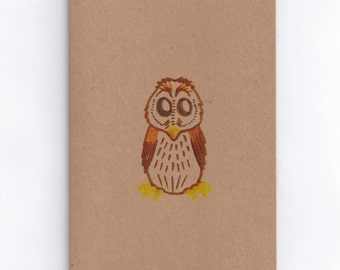 owl card reycled brown pen and ink print signed by artist blank note card