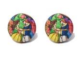 """Beauty & the Beast Collection """"Belle and Prince"""" Stained Glass Beauty and The Beast Fabric Button Earrings"""