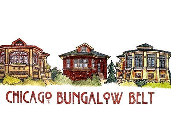 Chicago Bungalow Belt Art Poster