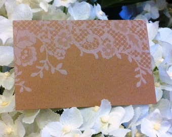 """Brown Kraft Cards """"White Lace"""" Pack of 10, Gift Tag, DIY Wedding, Papercraft, Scrapbooking,Party Supplies,florist supplies, Lace, Card, RSVP"""