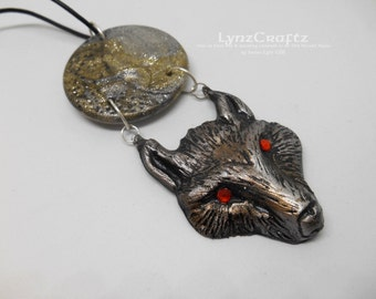 The Wolf Moon brown & gold polymer clay pendant necklace charm resin one of a kind handmade