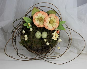 Large Bird Nest, Wedding Decor, Bridal Shower Wedding Bird Nest Decor, Bird Nest Peach Flower Decor, Bird Nest