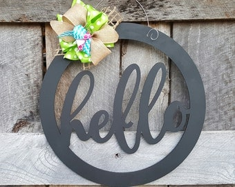 Hello Door Hanger - Hello Wreath - Gift for Mom - Teacher Gift - Classroom Door Hanger - Housewarming Gift - Birthday Gift