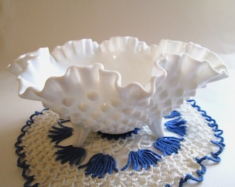 Vintage Fenton Hobnail Dish, 3 Footed Milk Glass Candy Dish with Ruffled Edges, Stylish Hobnail Serving Dish, Perfect for Wedding Display