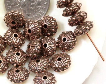 Rondelle Beads, 8 mm Oasis Rondelle Beads, TierraCast, Jewelry Findings, Copper Beads, Antique Copper Plated, 4 Pieces, 2718
