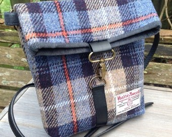 Harris tweed across body fold top messenger bag in Mackenzie tweed