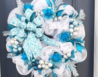White Deco Mesh Christmas Wreath For Front Door, Frozen Themed Front Door Wreath, Teal Christmas Wreath, Snowflake Christmas Wreath,