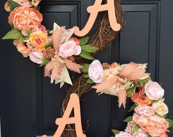 Double door wreaths, Spring wreaths for front door, front door wreaths with initials, monogram wreath, peach wreath, summer door wreath
