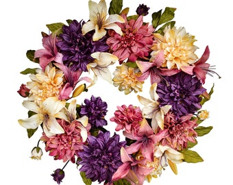 Dahlia & Lily Wreath | Front Door Wreaths | Spring Wreath | Outdoor Wreath | New Home Gift Ideas