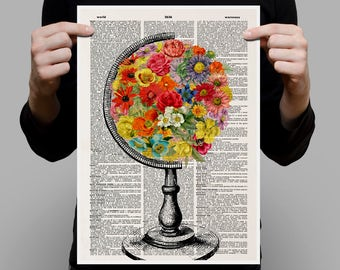 FLOWERED WORLD Print, flowered earth, world with flowers, world school globe, flowered globe, vintage globe, world globe, geography, #216