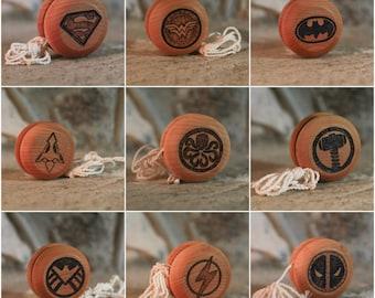 Superhero Pyrography Yo-Yos - Woodburned yoyo toys